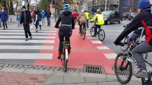 Przejzd rowerowy na Moście Dębnickim w Krakowie